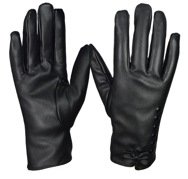 Fashionable Ladies Warm Leather Driving Gloves For Winter