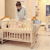 Natural Wood Baby Crib On Wheels With Changing Table