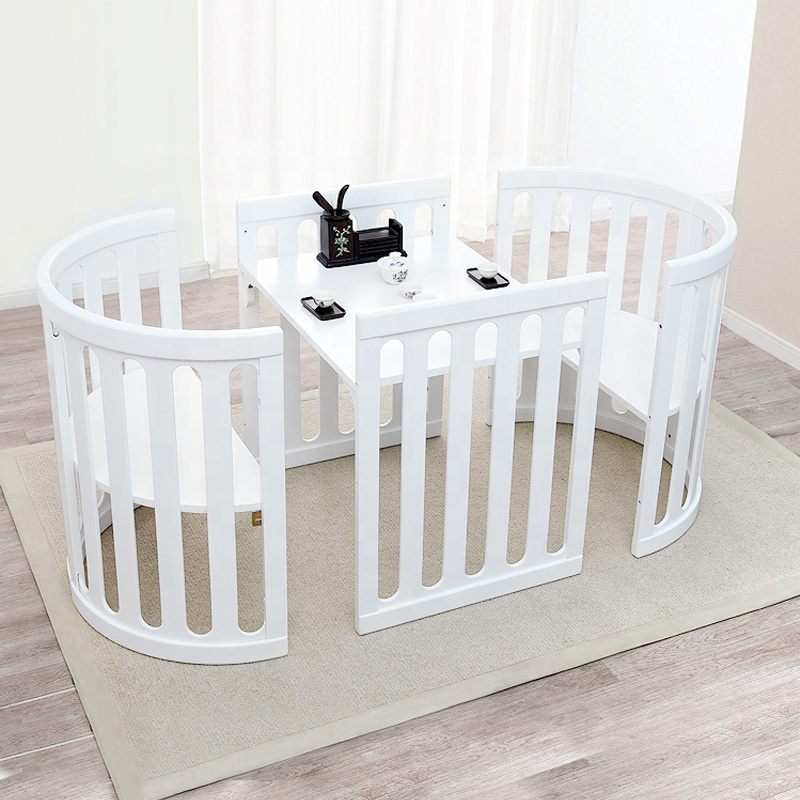 White Circle Wood Baby Crib For Toddler Bed