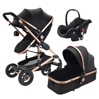 Popular PU Leather Baby Stroller With Infant Car Seat