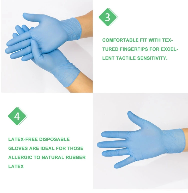 Disposable Medical Blue Nitrile Gloves with Sterilizing
